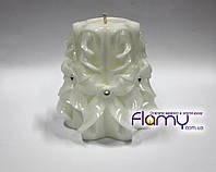 Резная свеча, белая, высота 100 мм