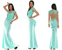 Длинное элегантное платье микро дайвинг + дорогой гипюр + кружево Размеры: S M L