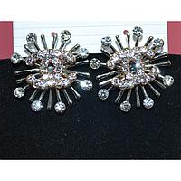 Серьги гвоздики, Chanel с камнями и нежно-розовыми стразами 001516