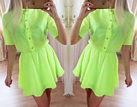 Шифоновое яркое короткое летнее платье (4 цвета)