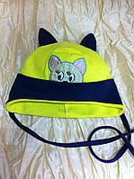 Хлопковая шапочка с ушками и вышивкой котика