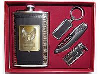 Подарок мужчине подарочный набор: фляга обьем 270мл+ зажигалка + брелок + нож/штопор