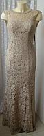 Платье женское шикарное красивое кружевное в пол вечернее Unique р.44 6529