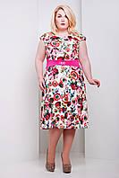 Нарядное летнее платье Мальвина белая (пояс розовый)  (50-58)