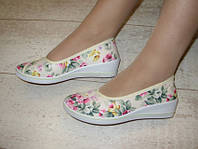 Т549 - Мокасины женские бежевые цветочки