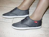 Т551 - Мокасины женские шнурок серые