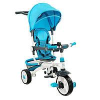 Велосипед трехколесный Best Trike 128  (колесо прорезиненое на пластиковом ободе) синий