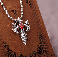 Большой эксклюзивный серебряный кулон Крест  Двойной Дракон Черный и Красный