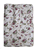 Одеяло полуторное, силиконовое, летнее Розы-бабочки, бязь (140х205 см.)