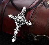 Серебряный кулон подвеска  крест с головой волка