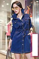 Стильное джинсовое платье на кнопках Коттон