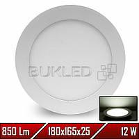 Светильник LED врезной круглый, 220 В, 12 Вт, Белый