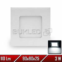 Светильник LED врезной квадратный, 220 В, 3 Вт, Белый