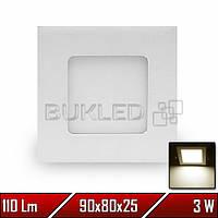 Светильник LED врезной квадратный, 220 В, 3 Вт, Теплый Белый