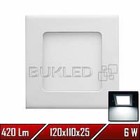 Светильник LED врезной квадратный, 220 В, 6 Вт, Белый