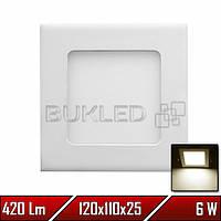 Светильник LED врезной квадратный, 220 В, 6 Вт, Теплый Белый