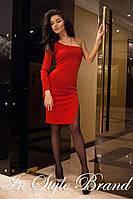 Красное элегантное платье на одно плечо. Арт-5448/56