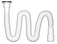 Сифон для умывальника  Nova Plastik, гофросифон, випуск н/ж - 79 мм, 840мм - 1590мм, Ду40/50 (арт.1261)