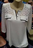Белая блуза с ажурным верхом