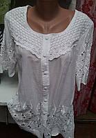 Летняя блуза с ажурным вкраплением