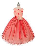 Нарядное выпускное платье с 3D цветами на девочку 8-10 лет
