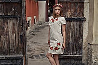 Лляне вишите плаття Маки - короткий рукав