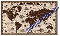 """Безворсовый ковер-рогожка Natura Karat """"Карта мира"""" - цвет бежевый"""