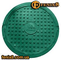 Люк канализационный до 1,5т зелёный с логотипом