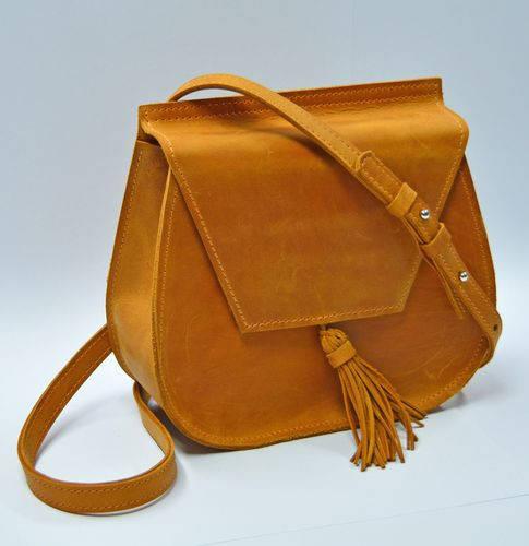 Миниатюрная  женская сумка из натуральной кожи GBAGS B.0008-CH рыжий