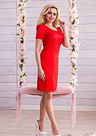 Стильное  Красное Платье Миди из Жаккарда M-2XL