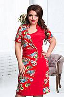 Красное батальное платье на лето