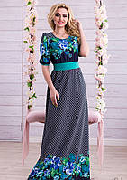 Длинное Синее Платье с Бирюзовым Цветочным Принтом M-2XL