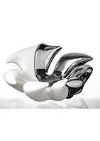 Фруктовница глянцевая серебристая керамическая в форме листа.
