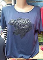 Качественная  футболка с розой и стразами, фото 1