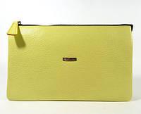 Клатч кожаный женский clutch лимонный Desisan 070 Турция