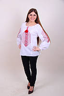 Женская вышитая блуза красным орнаментом и мережкою