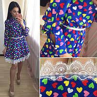 Платье летнее мини из хлопка с расклешенной юбкой и кружевом SM181