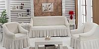 Набор чехлов для дивана и кресла Burumcuk кремовый