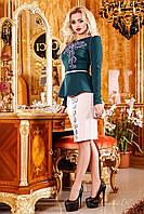 Женский нарядный вечерний костюм-двойка: Блуза+Юбка Изумруд+Молоко