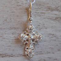 Миниатюрный серебряный крестик с распятием и фианитами