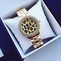 Часы женские Michael Kors Золотые Металлические без стразов, с леопардовым принтом