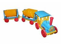 Игрушка Поезд-конструктор с 2 прицепами 013118 Фламинго-Тойс, голубой