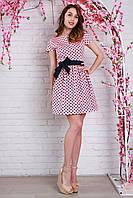 Красивое летнее платье из коттона в горошек с поясом на талии