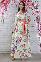 Вечернее платье длинное в пол с нежным цветочным рисунком