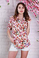 Стильная женская рубашка из штапеля с красивым цветочным рисунком