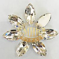 Cтразы в цапах Лодочка 9х18мм Цвет Crystal