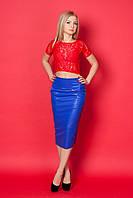 Обалденный женский костюм дизайнерского кроя элегантная юбка-карандаш из эко-кожи
