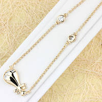 014-0512 - Очаровательное позолоченное ожерелье Рыбка с прозрачными фианитами плетение Бельцер, 55+4.5 см