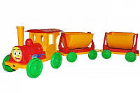 Игрушка Поезд-конструктор с 2 прицепами 013118 Фламинго-Тойс, красный