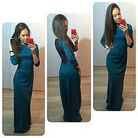 Платье в пол с гипюровой спиной